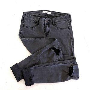 Hollister | Distressed Black Skinny Jeans